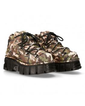 Sapato compensado camuflagem en couro New Rock M-106-C68