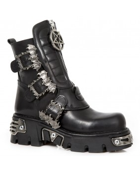 Black leather boot New Rock M.1486-C1