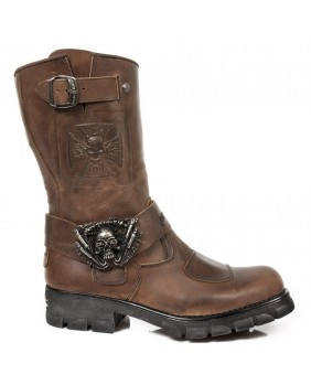 Brown leather boot New Rock M.7634-C1
