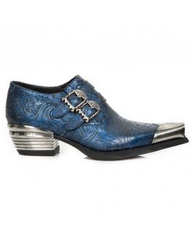 Blue leather shoes New Rock M.7960P-C1