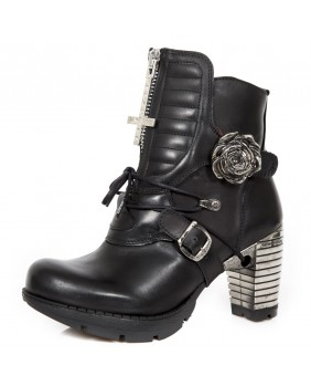 Black leather ankle boots New Rock M.TR106-C1